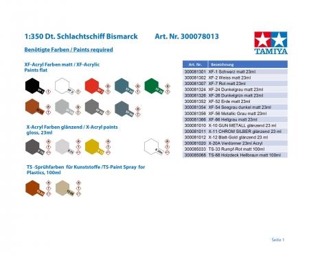 tamiya 1:350 Dt. Schlachtschiff Bismarck