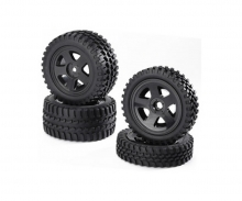 Buggy-Tire/Wheel Set All Terrain Bl(2+2)