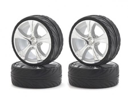 tamiya 1:10 Big Wheel-Set On-R.13 silb/w 4 St.