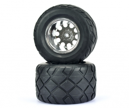 tamiya 1:10 Fr.Wheel-Set Monster Str./w/o.hex,2