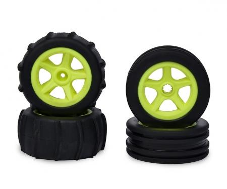 tamiya 1:10 2WD Paddle Tires 4pcs (neon yellow)
