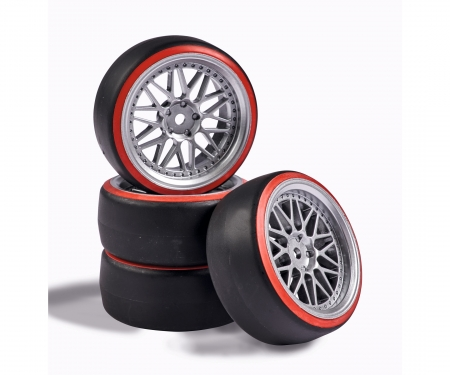 tamiya 1:10 Wheel Set Drift (4) silver/red
