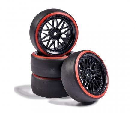 tamiya 1:10 Räderset Drift (4) schwarz/rot