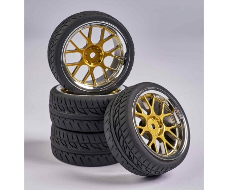 tamiya 1:10 Wheel Set Y-Design2 (4) gold/chrome