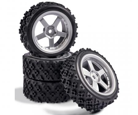 tamiya 1:10 Wheel Set 5 spk. Rallye (4) silver
