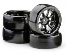 Drift Tire Set 6mm OND1/10 (9Rims)bl.(4)