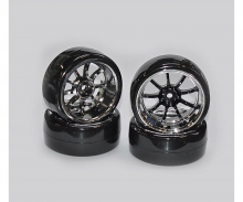 Drift Tire Set 1/10 black/chrome (4)