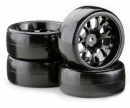 Drift Tire Set 1/10 (W-Rims)black (4)